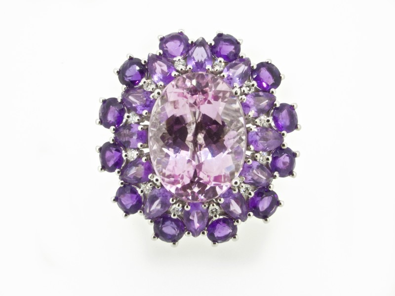 Kunzite ring with amethyst and diamonds