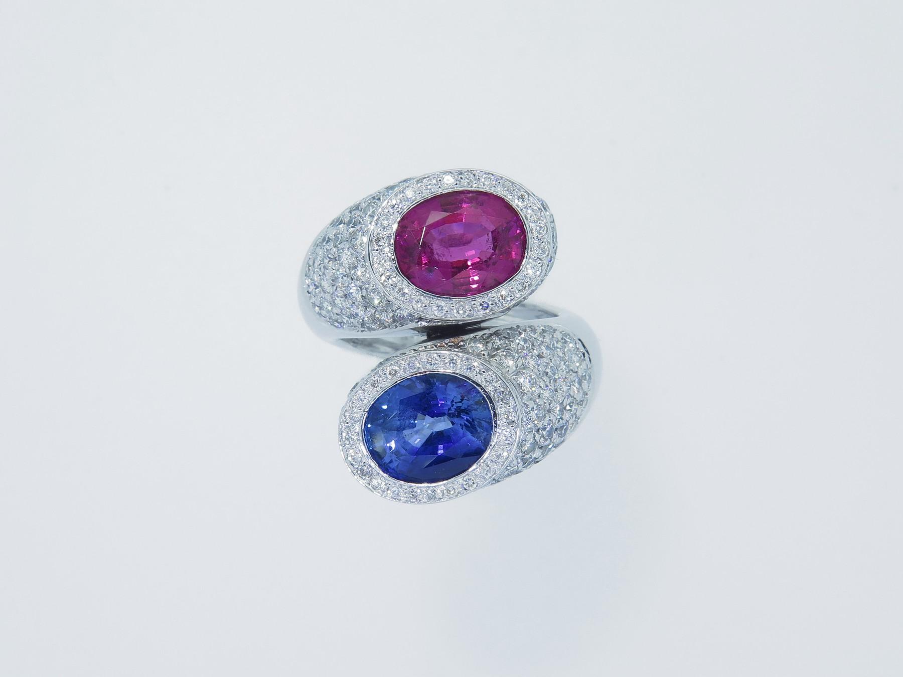 diamanti, tormalina rubellite e zaffiro di Ceylon